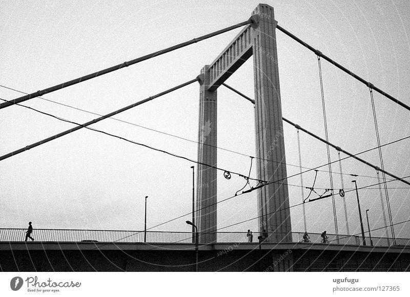 the bridge Budapest Bridge walk wires black white concrete