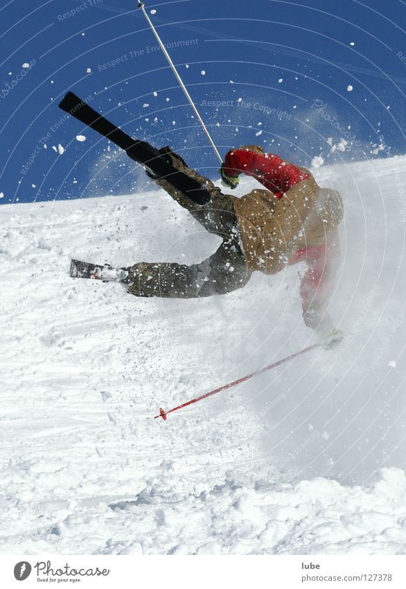 Snow Sports Playing Jump Skiing Sudden fall Accident Winter sports