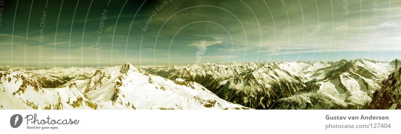 Sky Green Sun Landscape Clouds Cold Mountain Snow Stone Ice Large Point Wet Level Alps Panorama (Format)