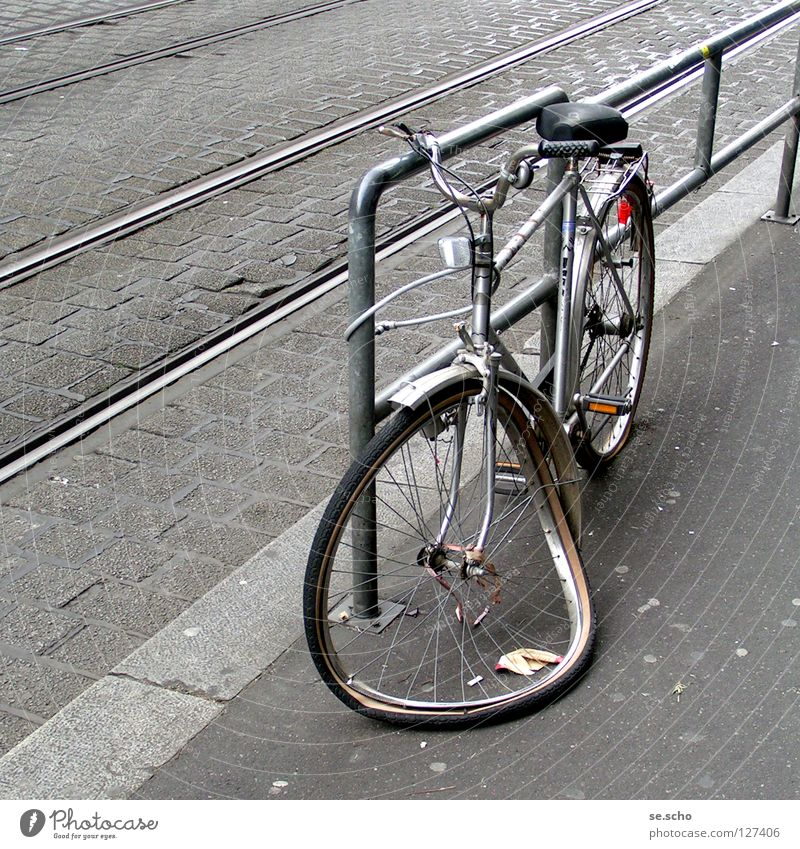 """ready for scrap Bicycle Breakdown Scrap metal Accident Tram Railroad tracks Broken Gray Safety Extreme sports End Street """"Game over!"""""""