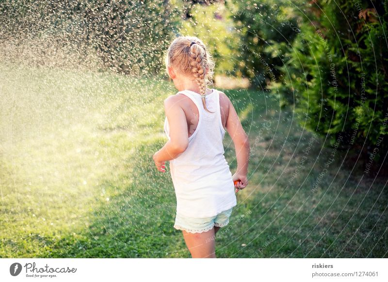 Human being Child Nature Summer Water Girl Environment Natural Feminine Playing Garden Infancy Free Drops of water Wet Cute