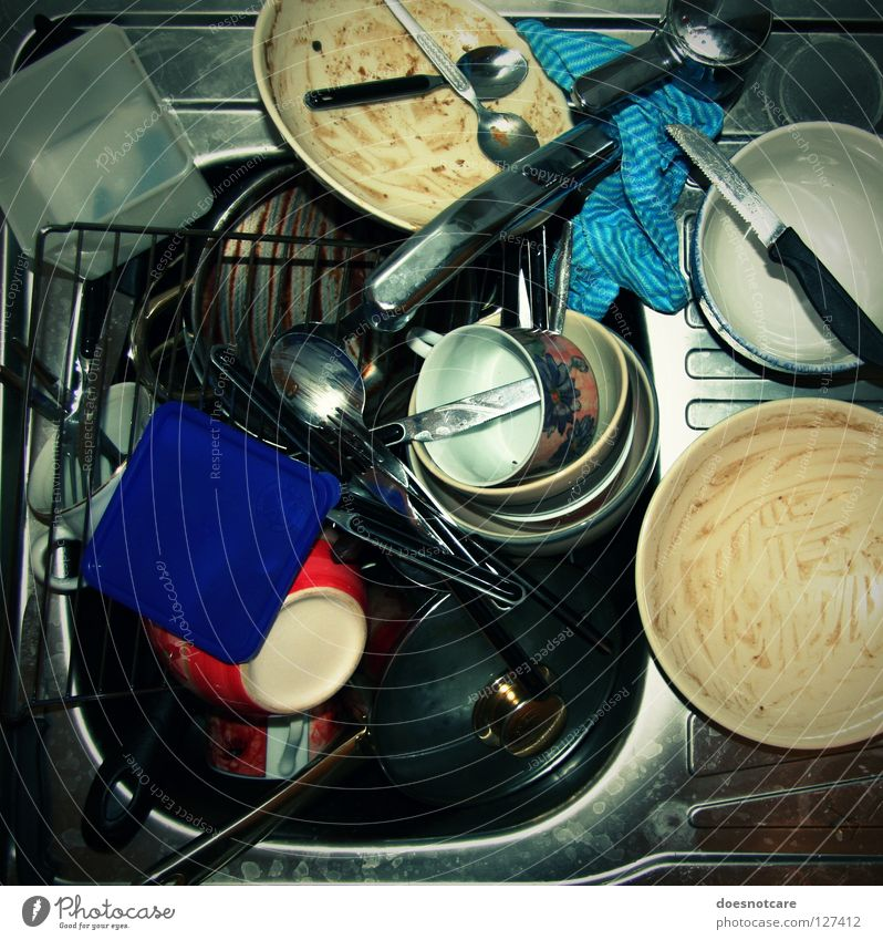 Old Dirty Glass Kitchen Clean Cleaning Crockery Cup Still Life Many Plate Chaos Muddled Bowl Pot Knives
