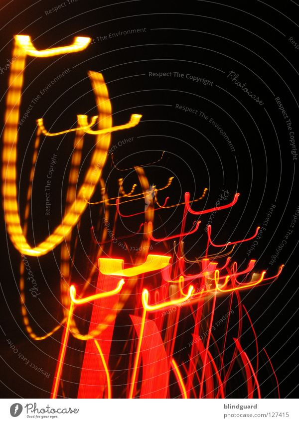 Cannste hook Red Yellow Light Rear light Transport White Gray Diffuse Dark Night Abstract Movement Speed Boredom Long exposure Colour Line Evening Bright