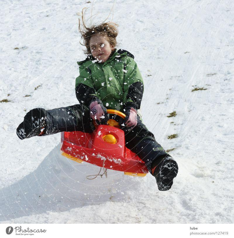 Child Joy Girl Winter Snow Jump Action Crazy Departure Winter sports Sleigh Steering Bobsleigh Reckless Ski jump Uninhibited