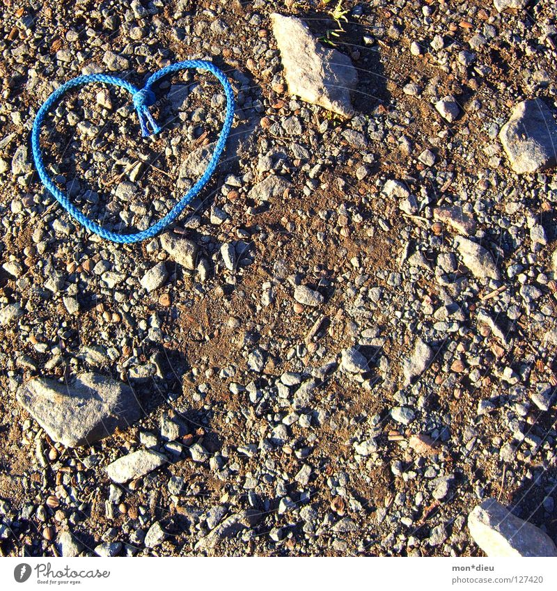 love is everywhere Heart Love Stone Peat Marriage proposal Pebble Blue Shoelace Shadow Lanes & trails Ground Valentine's Day Minerals i love you Gravel