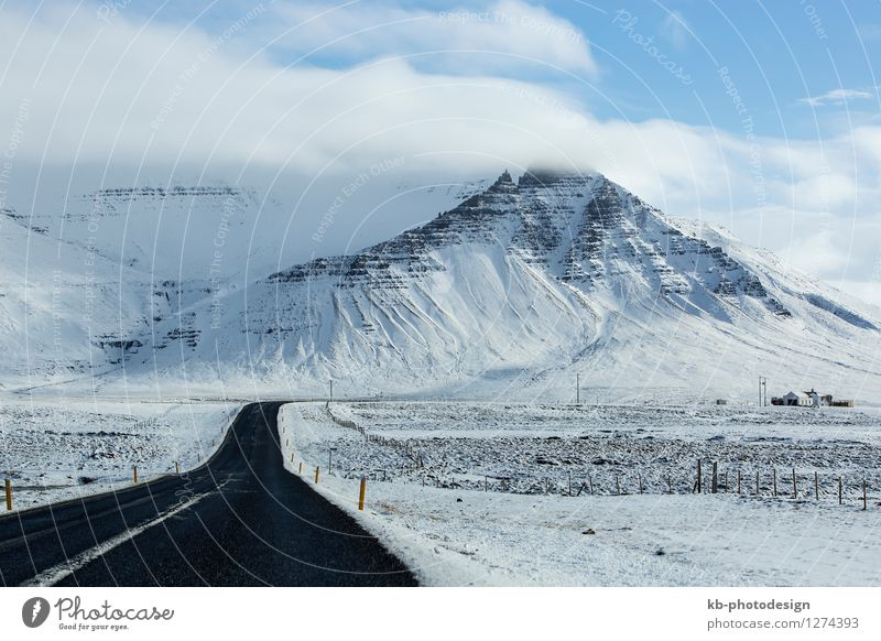 Impressive snowy landscape at the ring road in Iceland Vacation & Travel Tourism Winter Landscape Weather Bad weather Snow Volcano Traffic infrastructure