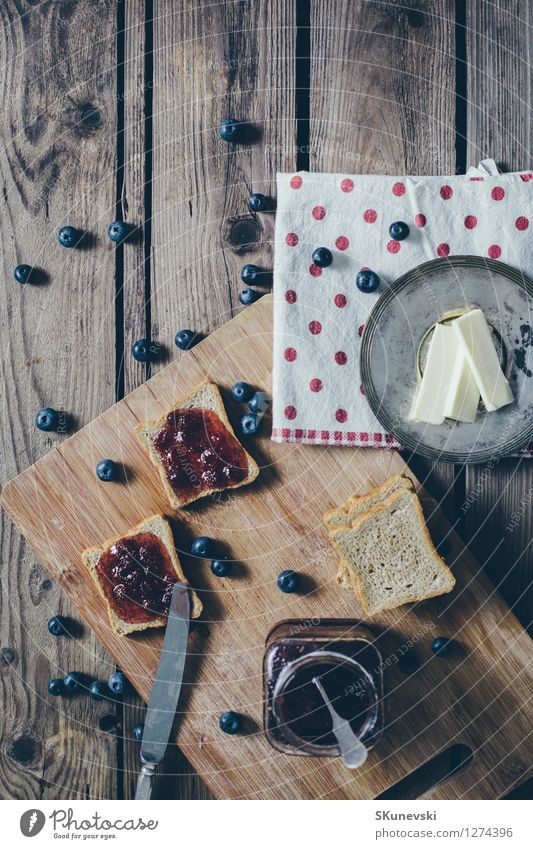 Toast bread with wild strawberry jam. Retro,vintage filter Blue Summer Red Black Wood Food Fruit Wild Fresh Nutrition Table Kitchen Delicious Breakfast Berries