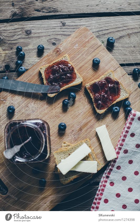 Toast bread with wild strawberry jam. Blue Summer Red Black Wood Food Fruit Wild Fresh Nutrition Table Retro Kitchen Delicious Breakfast Berries