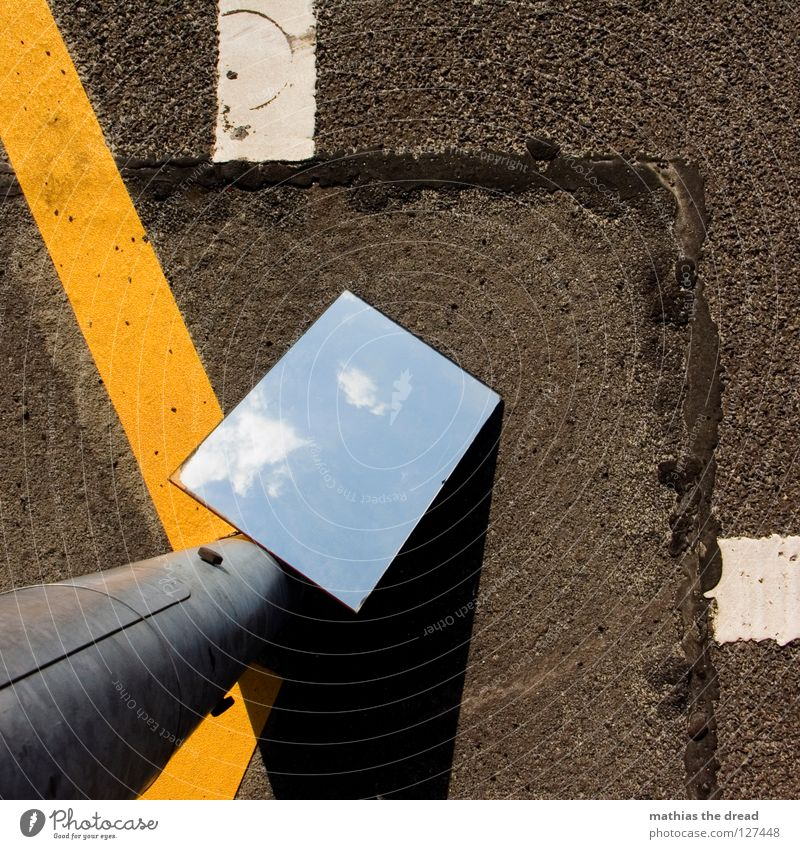 A LITTLE PEACE OF HEAVEN ON EARTH! Wall (building) Facade Tin White Cold Asphalt Dark Corner Grief Loneliness Gloomy Mirror Clouds Hope Beautiful Physics