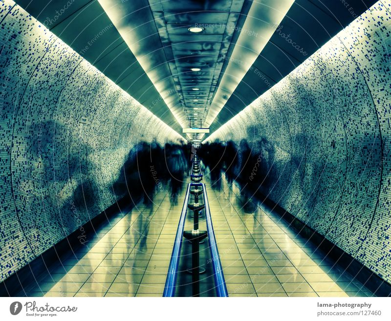 Human being Wall (building) Movement Lanes & trails Line Fear Architecture Going Walking Time Running Future Tunnel Stress London