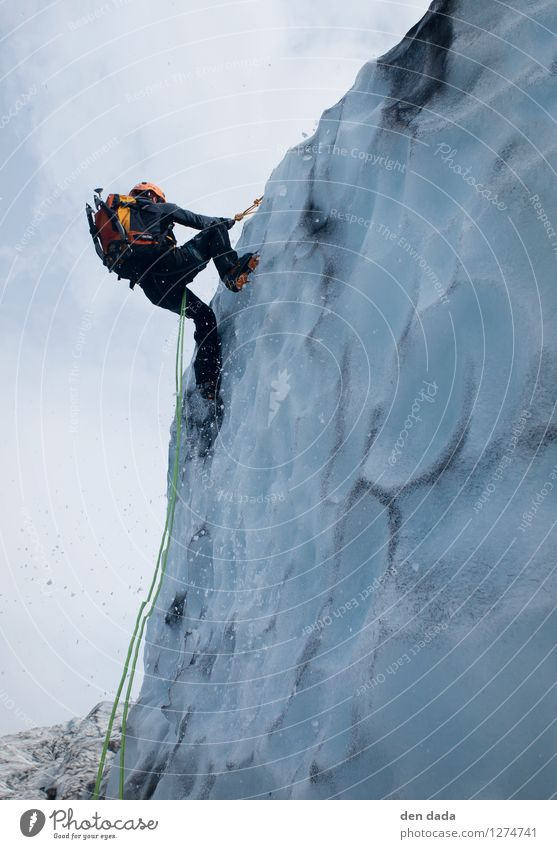 Ice climbing at the glacier Vatnajökull Iceland Young man Youth (Young adults) 1 Human being 30 - 45 years Adults Elements Winter Snow Glacier Canyon Island