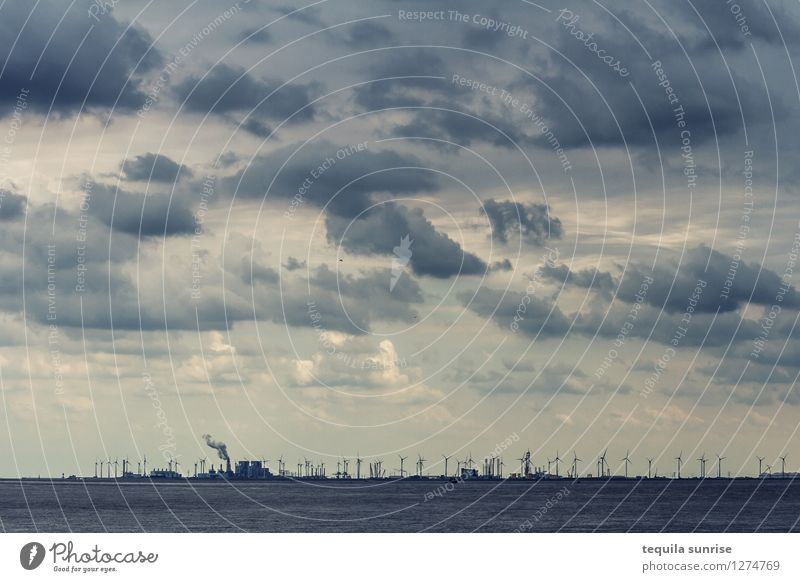 The sky over Eemshaven Energy industry Renewable energy Wind energy plant Elements Air Water Sky Clouds Storm clouds Coast North Sea Netherlands Port City