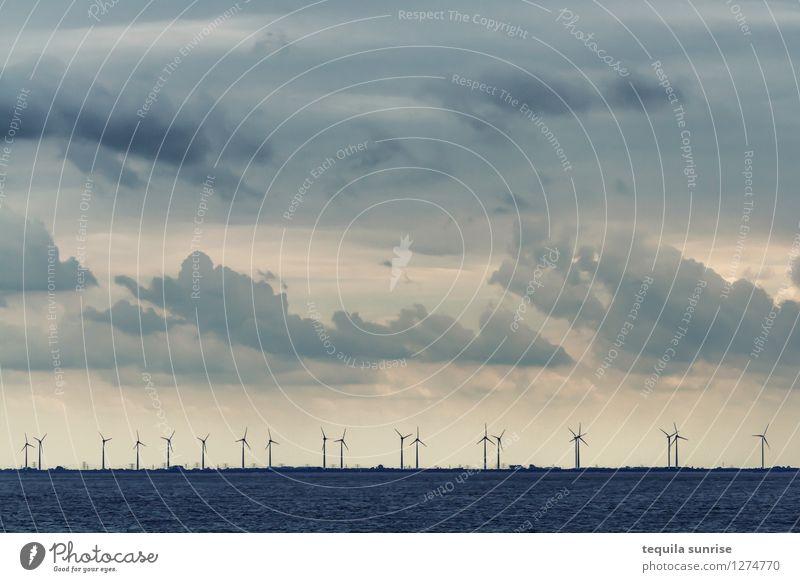 wind power Energy industry Renewable energy Wind energy plant Sky Clouds Horizon Coast Beach North Sea Eemshaven Port City Harbour Cold Blue Gray Colour photo
