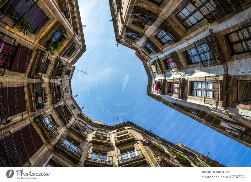 Barcelona Spain Town Downtown Old town House (Residential Structure) High-rise Manmade structures Wall (barrier) Wall (building) Facade Balcony Blue Yellow Bend