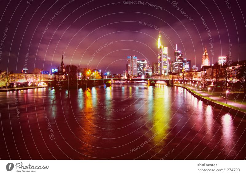 Frankfurt am Main Technology Advancement Future High-tech Information Technology Water Germany Europe Town Downtown Skyline Manmade structures Building