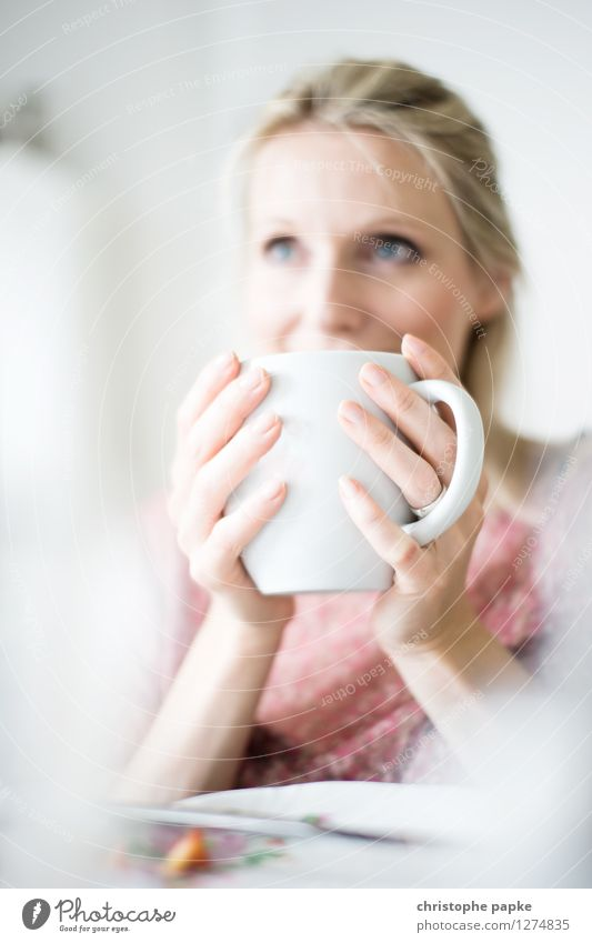 Tea with Bokeh 2 Meditative Shallow depth of field Drinking Breakfast Interior shot Blonde Woman 1 Person Cup Living room Bright To hold on Coffee Coffee cup