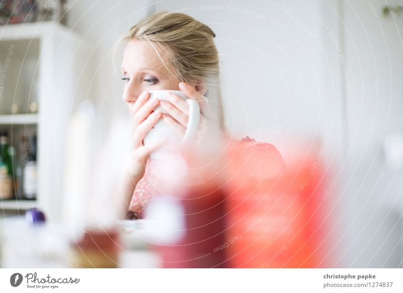 Tea with bokeh Meditative Shallow depth of field Drinking Breakfast Interior shot Blonde Woman 1 Person Cup Living room Bright To hold on Coffee Coffee cup