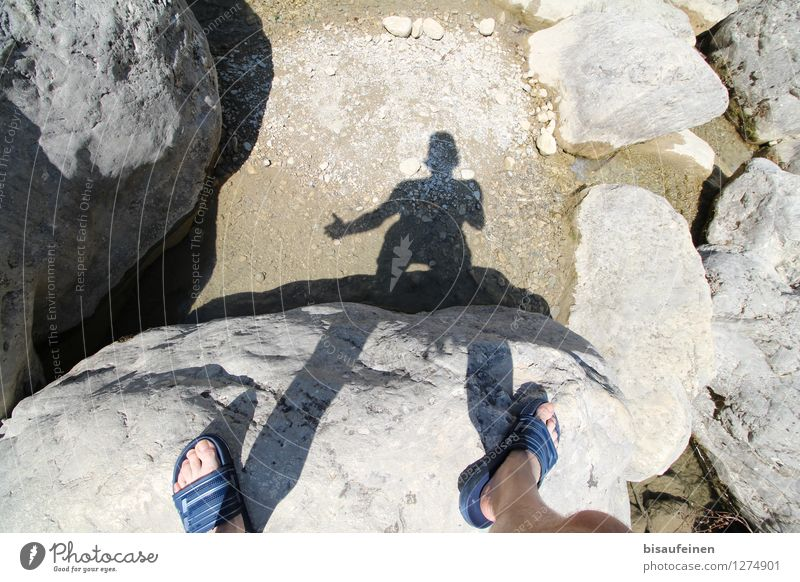 Human being Vacation & Travel Man Beach Adults Swimming & Bathing Stone Feet Sand Masculine Dance Beautiful weather Hero Cheap 30 - 45 years Slippers