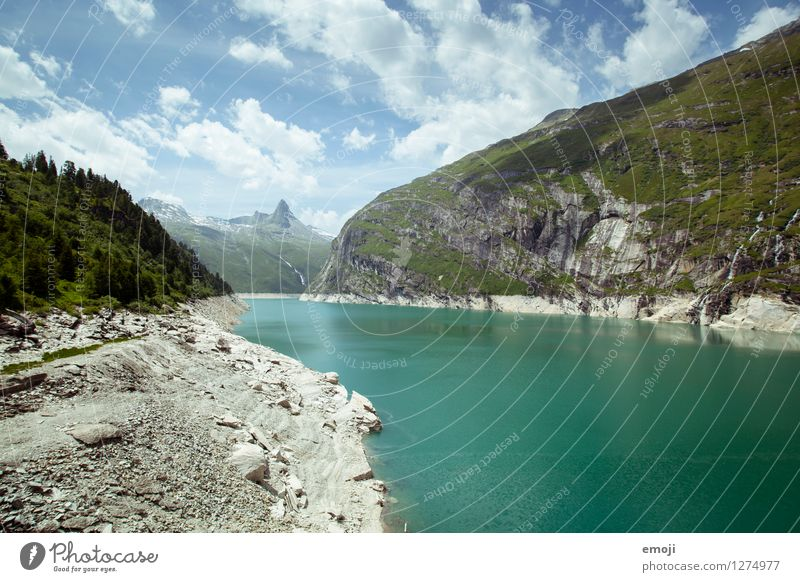cooling down Environment Nature Landscape Summer Beautiful weather Alps Mountain Lakeside Reservoir Sustainability Natural Colour photo Exterior shot Deserted