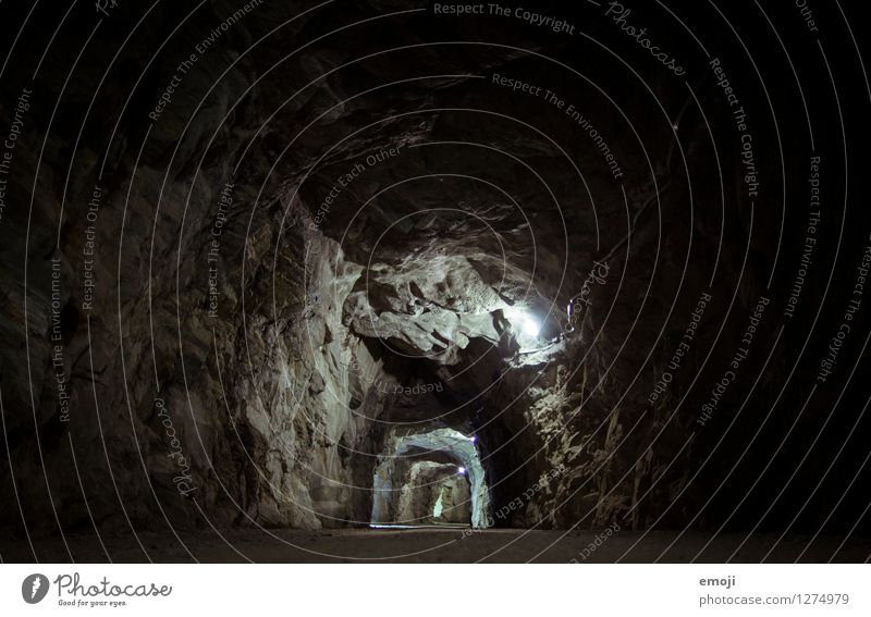 tunnels Rock Canyon Stone Tunnel Tunnel lighting Tunnel effect Exceptional Dark Colour photo Subdued colour Exterior shot Deserted Night Artificial light