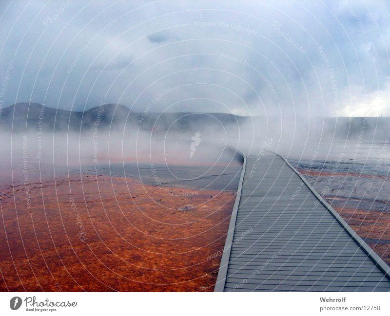 Water Sky Wood Lanes & trails USA Target Hot Americas Footbridge Eerie Steam Haze Natural phenomenon Right ahead Hot springs Wyoming