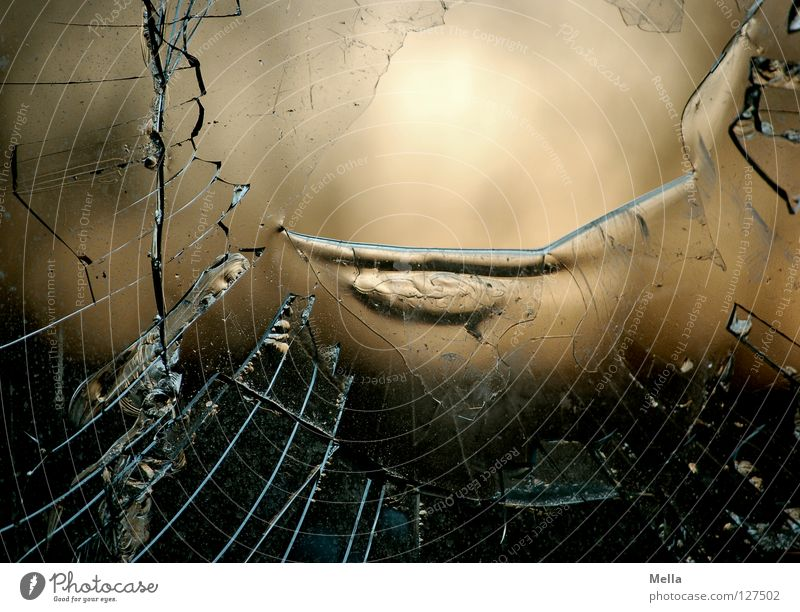 Window Glass Grief Corner Broken Derelict Plastic Statue Hollow Obscure Distress Transparent Crack & Rip & Tear Window pane Cut