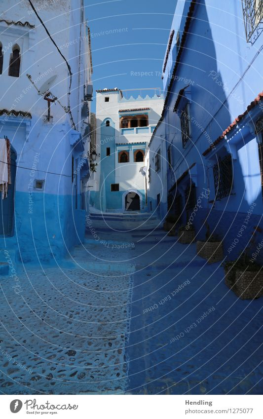 Blue through the street Artist Painter Museum Work of art Architecture Sky Sun Chechaouen Morocco Africa Small Town Downtown House (Residential Structure)