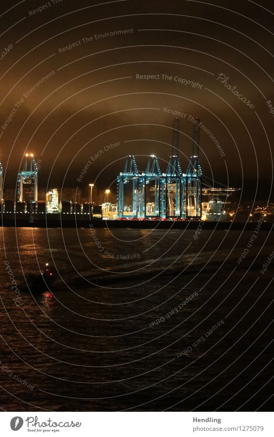 Algeciras harbour at night Water Work and employment Growth Harbour Algeciras Bay Gibraltar Crane Lighting Floodlight Globalization Port City Spain Navigation