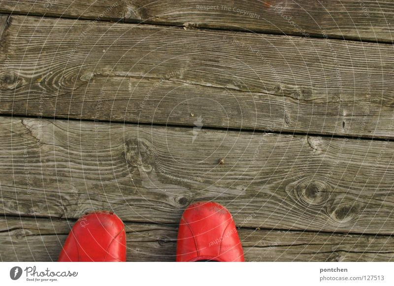 Red ballerinashoes on wooden planks on a terrace. Summer Garden Woman Adults Warmth Terrace Clothing Footwear Stand Carrying Retro Round