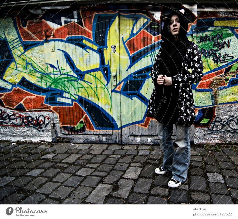 Cat Woman Youth (Young adults) City Joy Adults Graffiti Dangerous Sweet Clothing Jeans Jacket Cobblestones Rock'n'Roll Backyard Garage