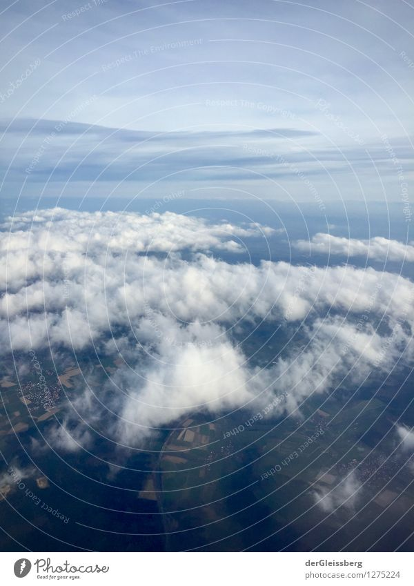 Theoretical troposphere boundary Landscape Air Sky Clouds Horizon Climate Weather Aviation Flying Tall Blue Gray White Above Altitude flight Colour photo