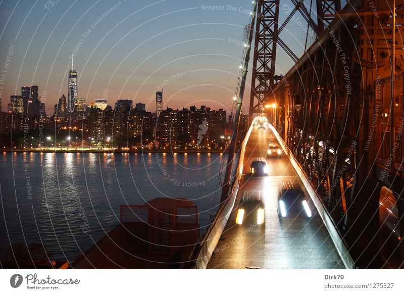 Summer Loneliness Window Street Glittering Car Transport High-rise Bridge River Driving Street lighting Haste Skyline Landmark Downtown