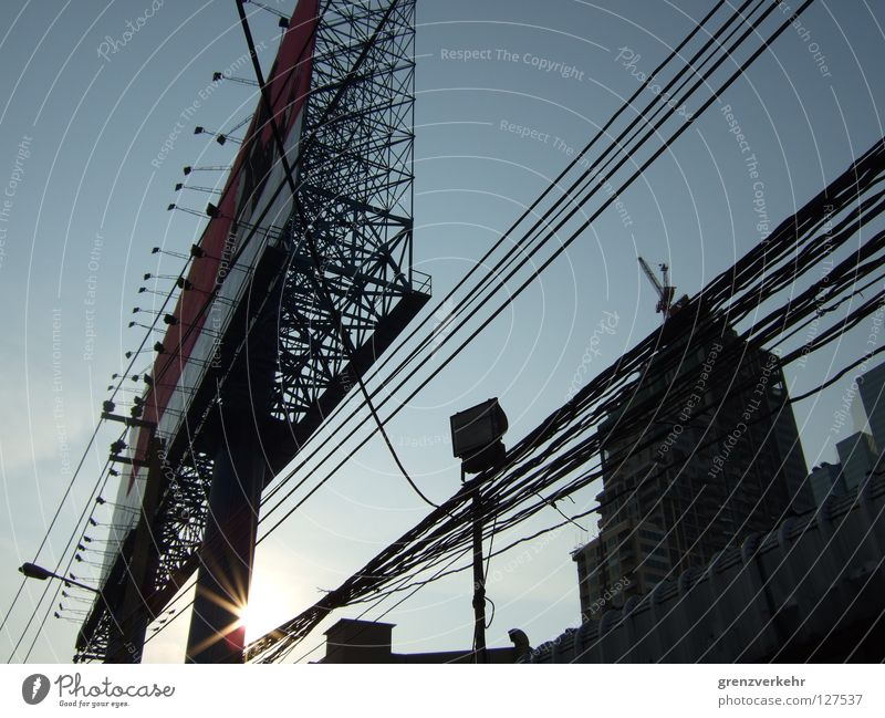 Sun Building Large Electricity Might Cable Construction site Advertising Floodlight Scaffold Overhead line Gigantic