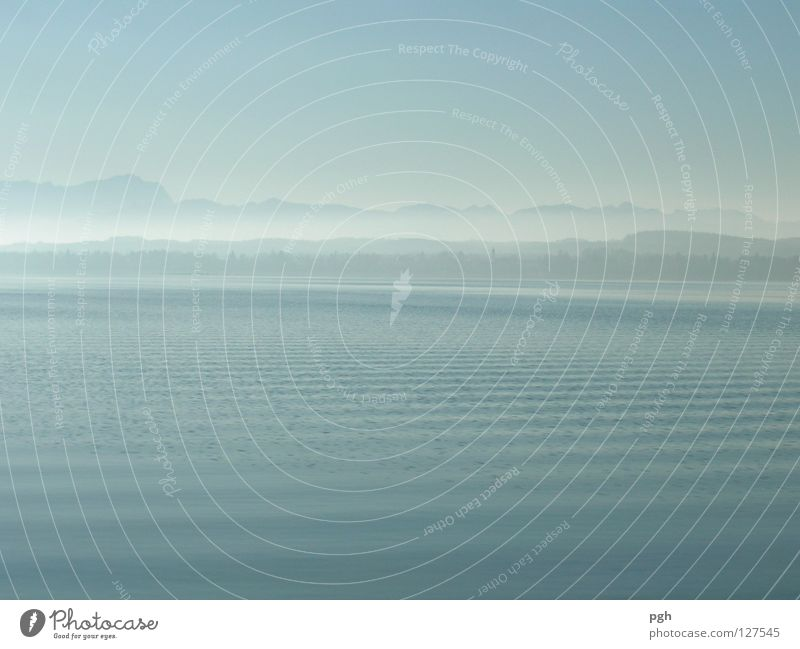 Water Sky Blue Calm Loneliness Mountain Moody Waves Fog Lake Starnberg