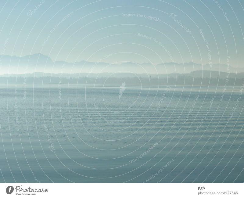 Water Sky Blue Calm Loneliness Mountain Moody Waves Fog Lake Starnberg