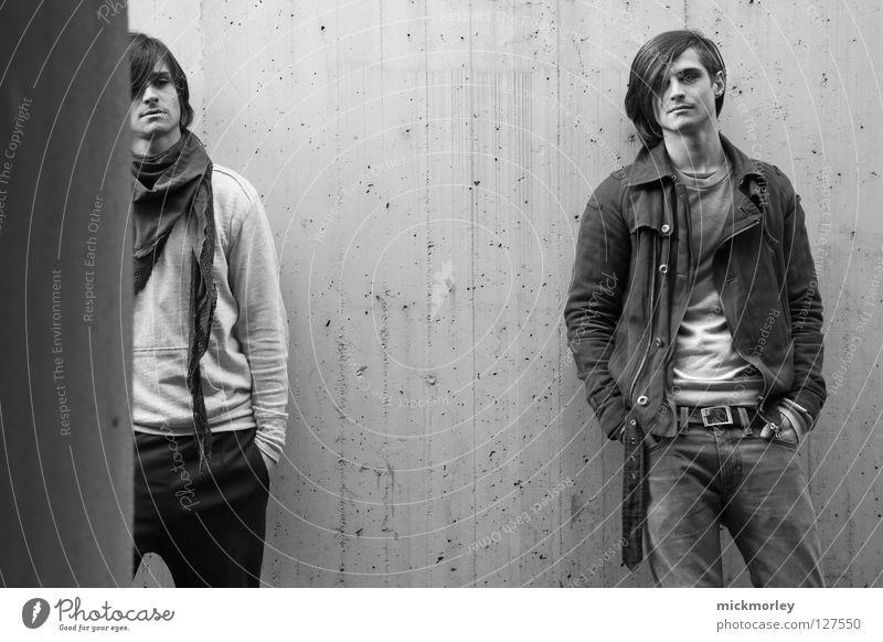 Man Hand White Black Wall (building) Gray Hair and hairstyles Cool (slang) Model Pants Jacket Disc jockey Easygoing Rag Earnest