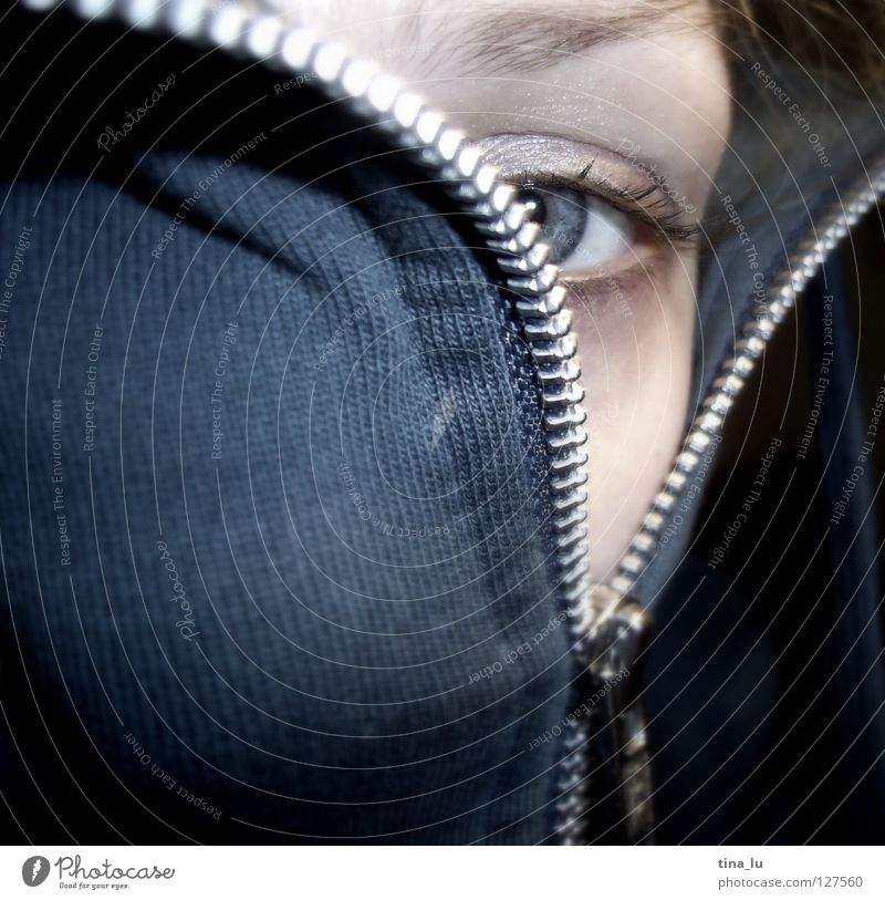 Woman Human being Girl Blue Face Eyes Emotions Gray Closed Open Near Mask Mysterious Discover Jacket Hide