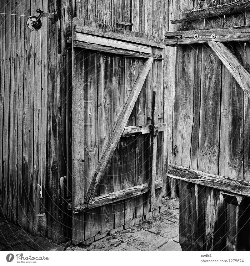 garden gate Wood Old Dry Decline Past Transience Gate Open Z Wooden fence All-weather Black & white photo Exterior shot Structures and shapes Deserted