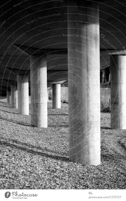 piers Bridge Manmade structures Architecture Gravel Column Stone Large Perspective Stability Black & white photo Exterior shot Deserted Day Light Shadow