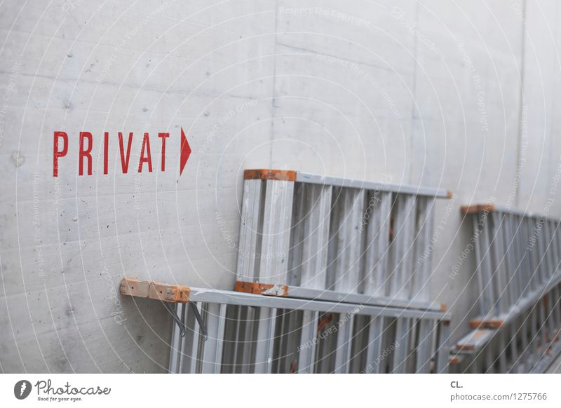 private Construction site Wall (barrier) Wall (building) Ladder Private Characters Signage Warning sign Gray Red Colour photo Interior shot Deserted Day
