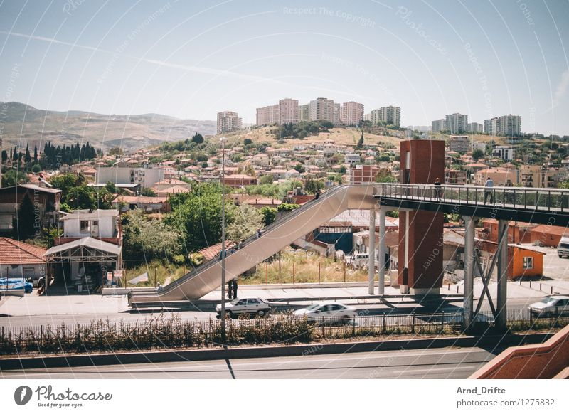 City Summer Landscape House (Residential Structure) Mountain Street Architecture Building Stairs Car Transport High-rise Bridge Beautiful weather Peak Hill