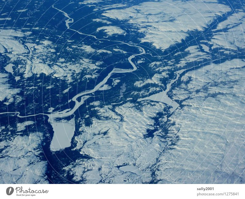 Cold ice-age... Environment Nature Winter Climate change Ice Frost Snow Hill Lake River View from the airplane Exceptional Far-off places Free Gigantic Infinity