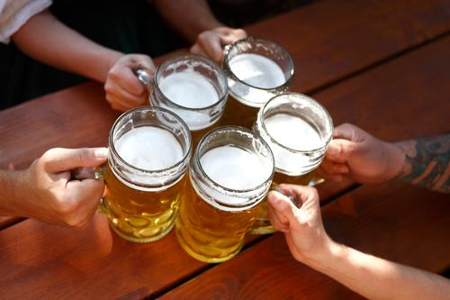 People drinking beer in a Bavarian beer garden Beverage Beautiful Party Oktoberfest Closing time Family & Relations Hand Feasts & Celebrations Drinking