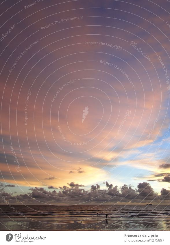 Sky Vacation & Travel Blue Colour Summer Sun Ocean Calm Clouds Far-off places Beach Yellow Coast Gray Freedom Moody
