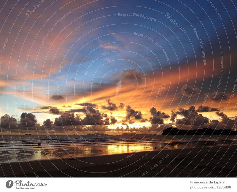 Sky Vacation & Travel Blue Colour Summer Sun Ocean Calm Clouds Far-off places Beach Yellow Coast Freedom Moody Horizon