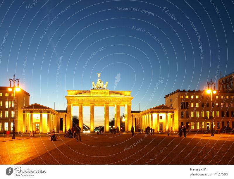 City Berlin Night Monument Landmark Capital city Night shot Brandenburg Gate