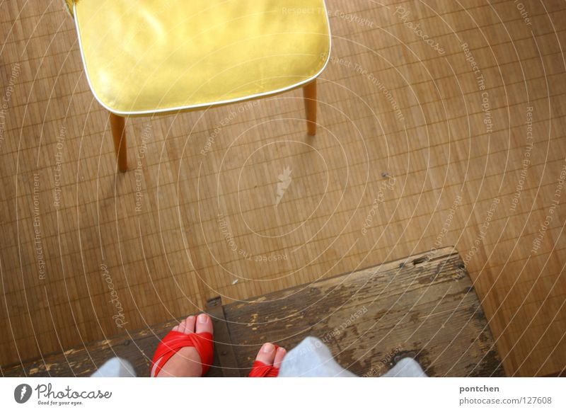 Woman Red Summer Adults Far-off places Yellow Playing Above Wood Movement Jump Footwear Room Stand Floor covering Chair
