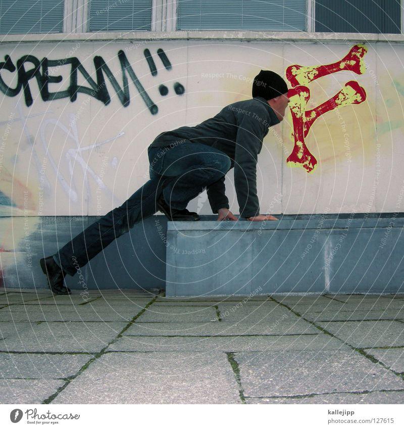 linen duty Mural painting Street art Funster Joke Funny Appetite Man Dog food Exterior shot Central perspective Comical