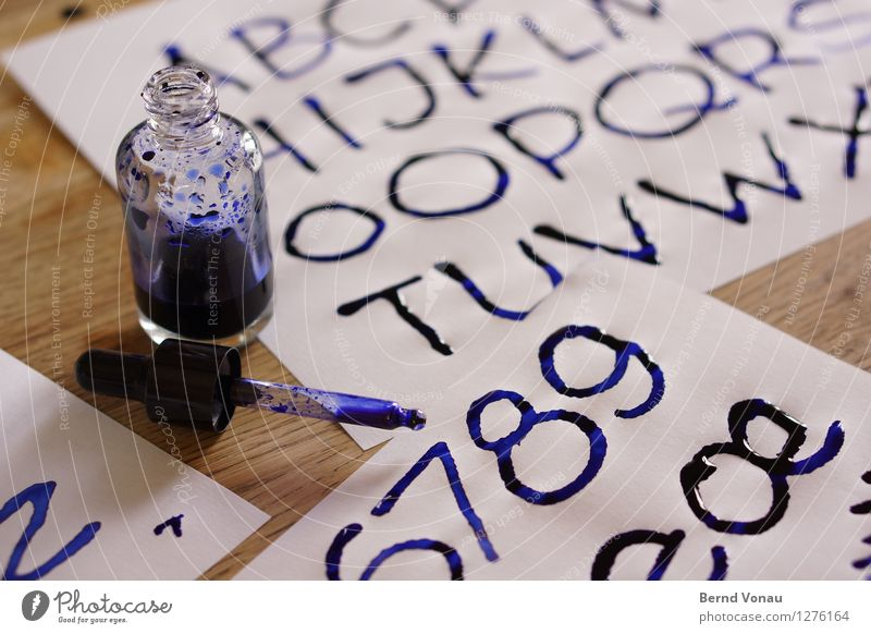 alphabetical Characters Digits and numbers Wet Colour Ink Calligraphy Pipette Blue Creativity Fresh Handcrafts Stationery Paper Conceptual design Colour photo