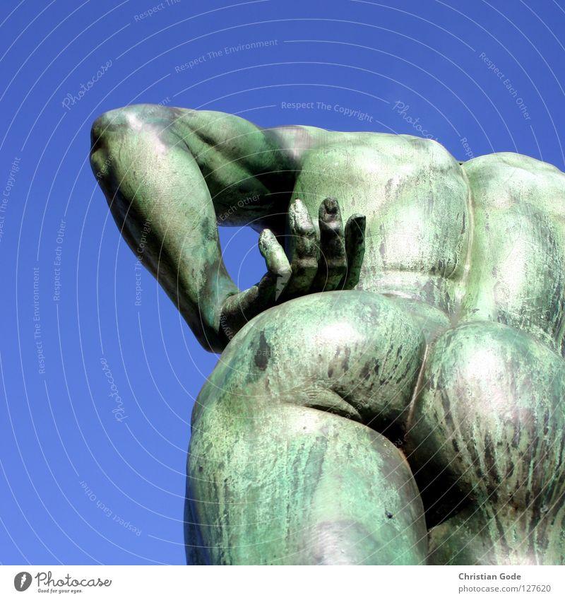 iron ass Sculpture Monument Art Iron Bronze Green Hand Bottom Hip Worm's-eye view Man Fingers Underarm Upper arm Thigh Spokes Mainstay Spinal column Headless
